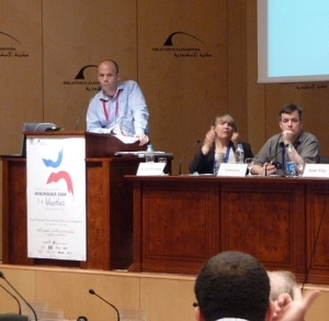 Wikimania press conference 2008. Image by Cary Bass